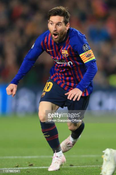 Lionel Messi of Barcelona celebrates scoring their 2nd goal during the UEFA Champions League Quarter Final second leg match between FC Barcelona and...