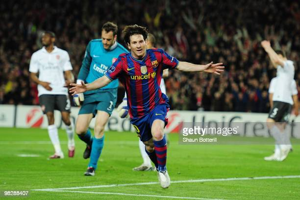 Lionel Messi of Barcelona celebrates scoring their second goal during the UEFA Champions League quarter final second leg match between Barcelona and...