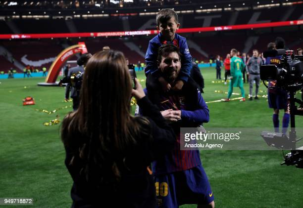 Lionel Messi of Barcelona celebrates with Antonella Roccuzzo and his son Thiago after Copa del Rey Final soccer match between Sevilla and Barcelona...