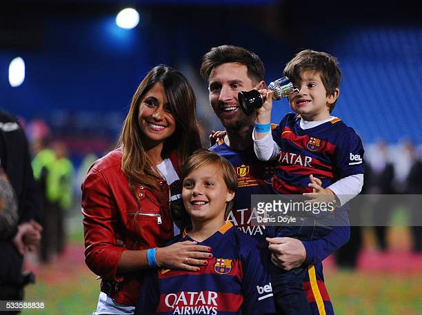 Lionel Messi of Barcelona celebrates with his wife Antonella Roccuzzo and children after winning the Copa del Rey Final between Barcelona and Sevilla...