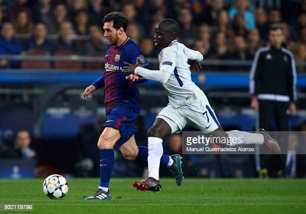 Lionel Messi of Barcelona competes for the ball with N'Golo Kante of Chelsea during the UEFA Champions League Round of 16 Second Leg match between FC...