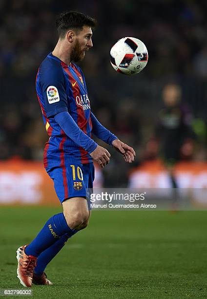 Lionel Messi of Barcelona controls the ball during the Copa del Rey quarterfinal second leg match between FC Barcelona and Real Sociedad at Camp Nou...