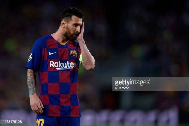 Lionel Messi of Barcelona dejected during the UEFA Champions League group F match between FC Barcelona and Inter at Camp Nou on October 2 2019 in...