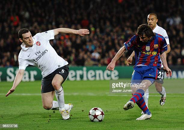 Lionel Messi of Barcelona dribbles the ball before scoring his fourth goal during the UEFA Champions League quarter final second leg match between...