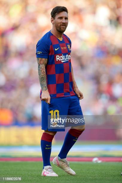 Lionel Messi of Barcelona during the Joan Gamper trophy match between FC Barcelona and Arsenal at Nou Camp on August 4 2019 in Barcelona Spain