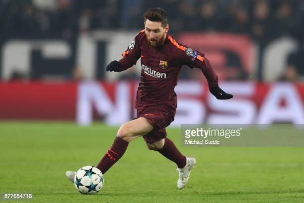Lionel Messi of Barcelona during the UEFA Champions League group D match between Juventus and FC Barcelona at Juventus Stadium on November 22 2017 in...