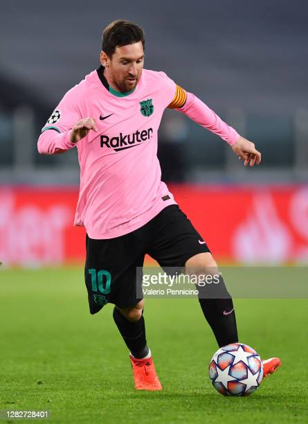 Lionel Messi of Barcelona during the UEFA Champions League Group G stage match between Juventus and FC Barcelona at Juventus Stadium on October 28...