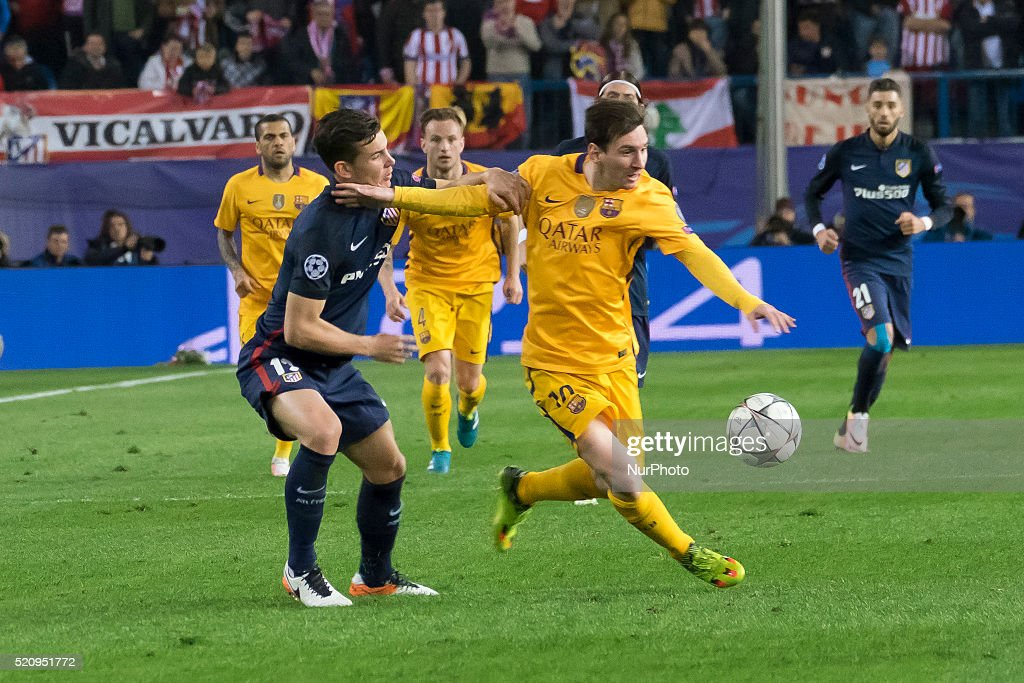 Lionel Messi of Barcelona during the UEFA Champions League quarter final, second leg match between Club Atletico de Madrid and FC Barcelona at the Vincente Calderon on April 13, 2016 in Madrid, Spain.