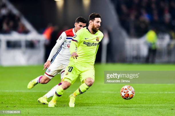Lionel Messi of Barcelona during the UEFA Champions League round 16 first leg match between Lyon and Barcelona at Groupama Stadium on February 19...