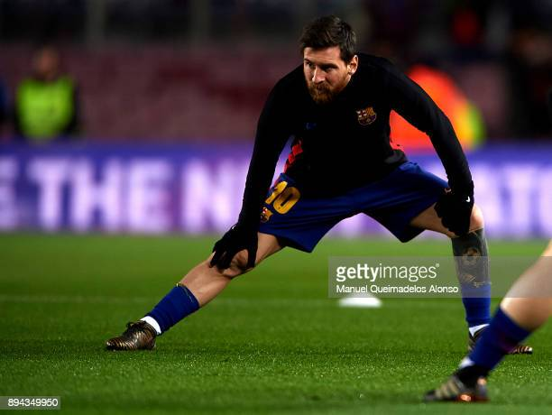 Lionel Messi of Barcelona during the warmup before the La Liga match between Barcelona and Deportivo de La Coruna at Camp Nou on December 17 2017 in...