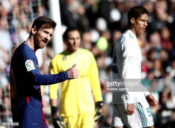 Lionel Messi of Barcelona gestures during the La Liga match between Real Madrid and Barcelona at Santiago Bernabeu Stadium in Madrid Spain on...