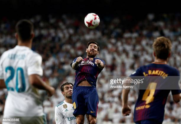 Lionel Messi of Barcelona in action against Mateo Kovacic of Real Madrid during the Spanish Super Cup return match between Real Madrid and Barcelona...