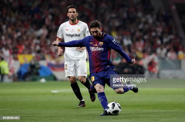 Lionel Messi of Barcelona in action during Copa del Rey Final soccer match between Sevilla and Barcelona at Wanda Metropolitano Stadium in Madrid...