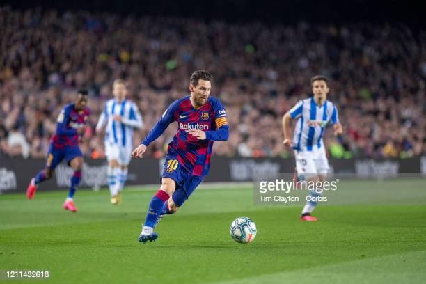 Lionel Messi of Barcelona in action during the Barcelona V Real Sociedad La Liga regular season match at Estadio Camp Nou on March 7th 2020 in...