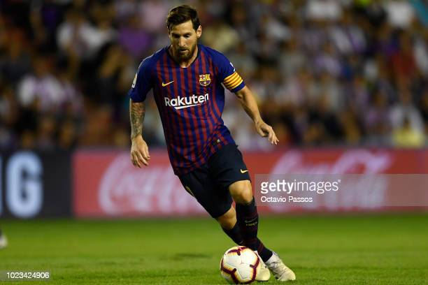 Lionel Messi of Barcelona in action during the La Liga match between Real Valladolid CF and FC Barcelona at Jose Zorrilla on August 25 2018 in...