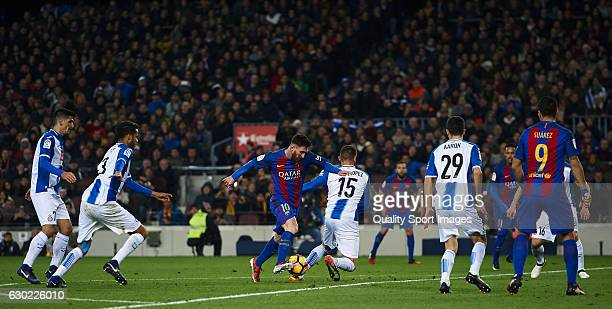 Lionel Messi of Barcelona in action during the La Liga match between FC Barcelona and RCD Espanyol at Camp Nou Stadium on December 18 2016 in...