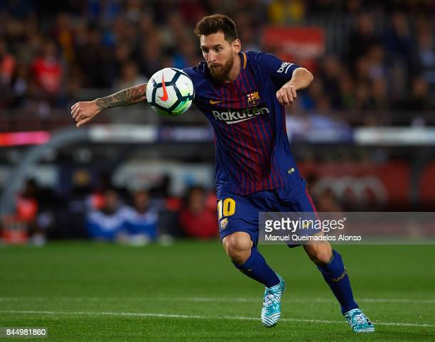 Lionel Messi of Barcelona in action during the La Liga match between Barcelona and Espanyol at Camp Nou on September 9 2017 in Barcelona Spain