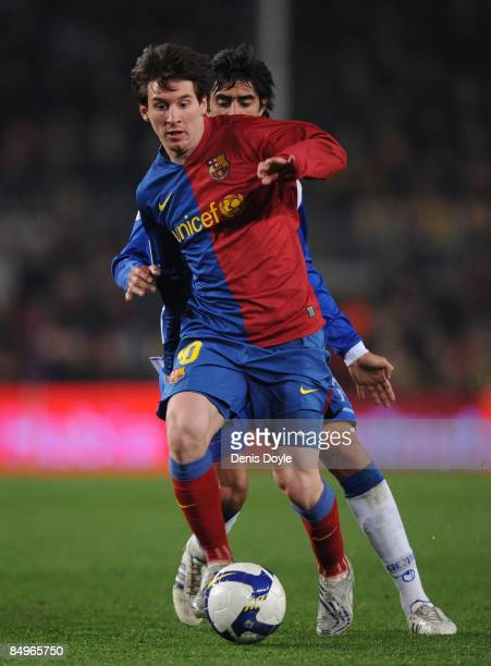 Lionel Messi of Barcelona in action during the La Liga match between Barcelona and Espanyol at the Camp Nou stadium on February 21 2009 in Barcelona...