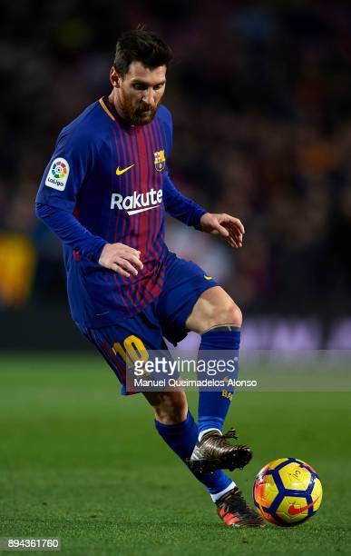 Lionel Messi of Barcelona in action during the La Liga match between Barcelona and Deportivo de La Coruna at Camp Nou on December 17 2017 in...