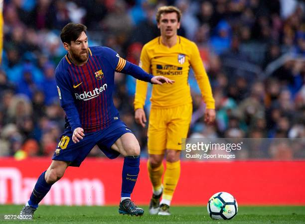Lionel Messi of Barcelona in action during the La Liga match between FC Barcelona and Atletico de Madrid at Camp Nou on March 4 2018 in Barcelona...