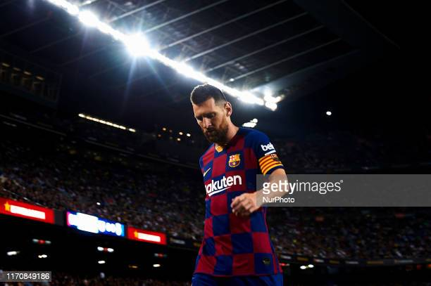 Lionel Messi of Barcelona in action during the Liga match between FC Barcelona and Villarreal CF at Camp Nou on September 24, 2019 in Barcelona,...
