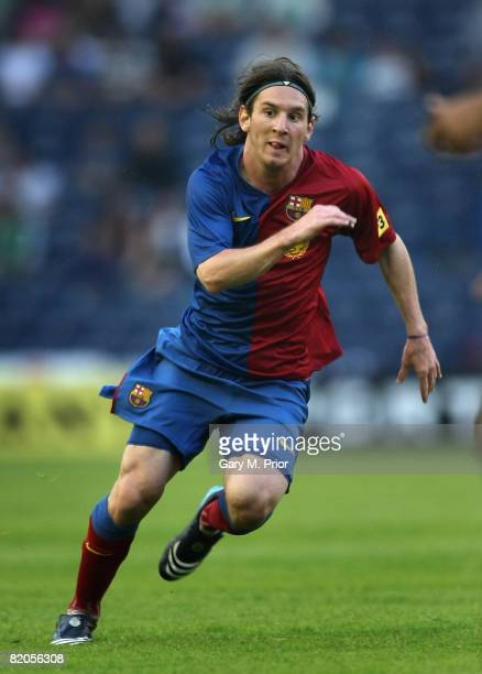 Lionel Messi of Barcelona in action during the preseason friendly between Hibernian and Barcelona at Murrayfield on July 24 2008 in Edinburgh Scotland
