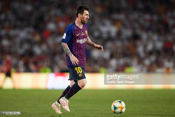 Lionel Messi of Barcelona in action during the Spanish Copa del Rey Final match between Barcelona and Valencia at Estadio Benito Villamarin on May 25...