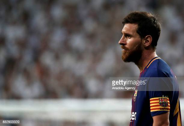 Lionel Messi of Barcelona in action during the Spanish Super Cup return match between Real Madrid and Barcelona at Santiago Bernabeu Stadium in...