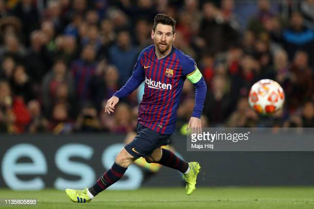 Lionel Messi of Barcelona in action during the UEFA Champions League Round of 16 Second Leg match between FC Barcelona and Olympique Lyonnais at Nou...