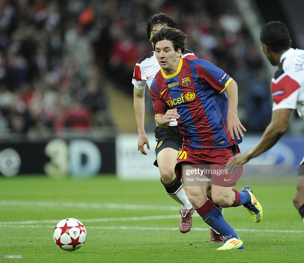 Lionel Messi of Barcelona in action during the UEFA Champions League final between FC Barcelona and Manchester United FC at Wembley Stadium on May 28, 2011 in London, England. Barcelona won the match 3-1.