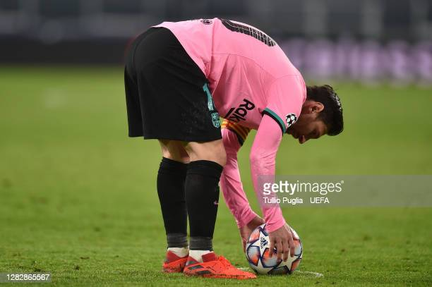 Lionel Messi of Barcelona in action during the UEFA Champions League Group G stage match between Juventus and FC Barcelona at Juventus Stadium on...