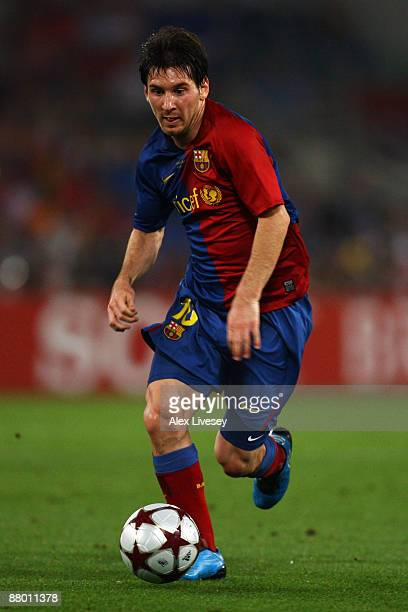 Lionel Messi of Barcelona in action during the UEFA Champions League Final match between Barcelona and Manchester United at the Stadio Olimpico on...
