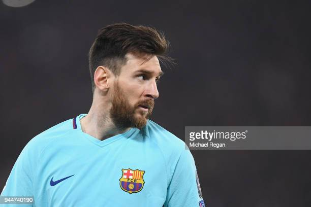 Lionel Messi of Barcelona in action during the UEFA Champions League Quarter Final Second Leg match between AS Roma and FC Barcelona at Stadio...