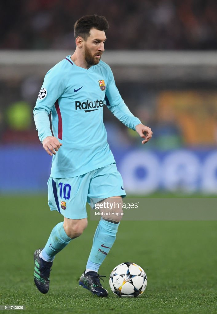 Lionel Messi of Barcelona in action during the UEFA Champions League Quarter Final Second Leg match between AS Roma and FC Barcelona at Stadio Olimpico on April 10, 2018 in Rome, Italy.