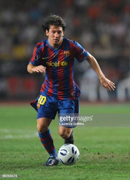 Lionel Messi of Barcelona in action during the UEFA Super Cup Final between FC Barcelona and Shakhtar Donetsk at The Stade Louis II Stadium on August...
