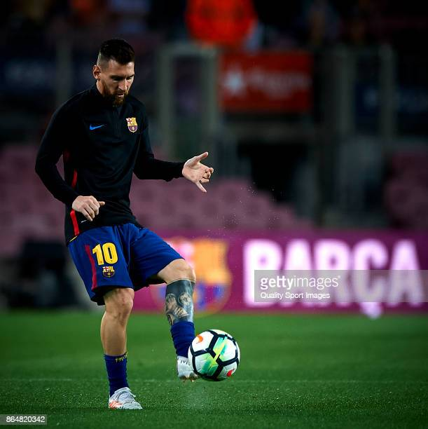 Lionel Messi of Barcelona in action during the warm up prior La Liga match between Barcelona and Malaga at Camp Nou on October 21 2017 in Barcelona...