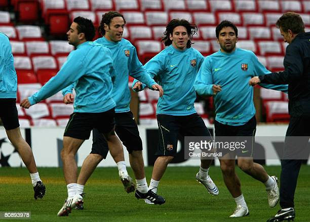 Lionel Messi of Barcelona in action with team mates during training ahead of the UEFA Champions League Semi Final 2nd leg on Tuesday at Old Trafford...