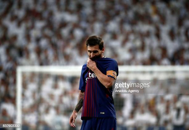 Lionel Messi of Barcelona in is seen during the Spanish Super Cup return match between Real Madrid and Barcelona at Santiago Bernabeu Stadium in...