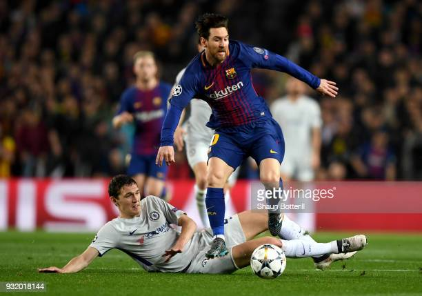 Lionel Messi of Barcelona is challenged by Andreas Christensen of Chelsea during the UEFA Champions League Round of 16 Second Leg match FC Barcelona...