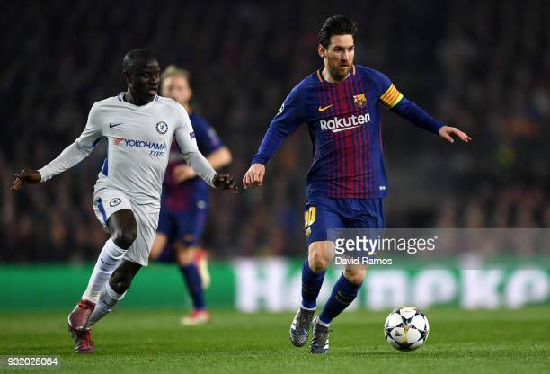 Lionel Messi of Barcelona is chased by N'Golo Kante of Chelsea during the UEFA Champions League Round of 16 Second Leg match FC Barcelona and Chelsea...