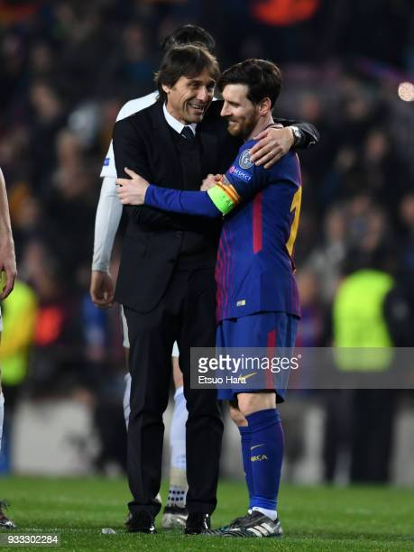 Lionel Messi of Barcelona is congratulated by Chelsea manager Antonio Conte after the UEFA Champions League Round of 16 Second Leg match FC Barcelona...