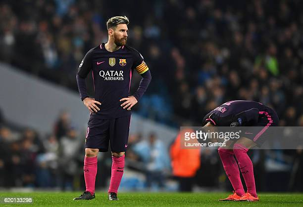 Lionel Messi of Barcelona is dejected after the final whistle during the UEFA Champions League Group C match between Manchester City FC and FC...