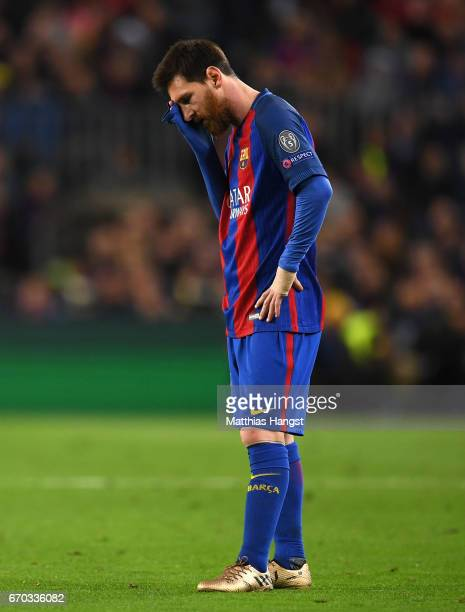 Lionel Messi of Barcelona is dejected during the UEFA Champions League Quarter Final second leg match between FC Barcelona and Juventus at Camp Nou...