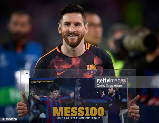 Lionel Messi of Barcelona is honoured of 100 goals in UEFA Champions League prior the UEFA Champions League Quarter Final first leg match between FC...