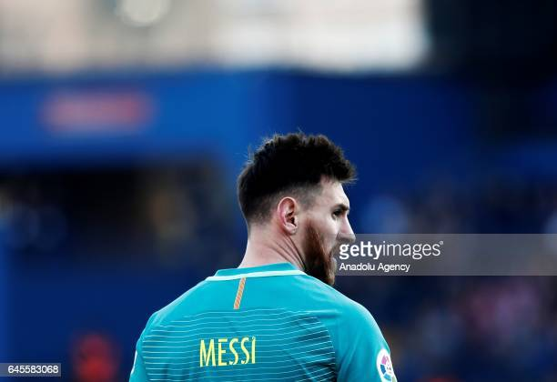 Lionel Messi of Barcelona is seen during the La Liga football match between Atletico Madrid and Barcelona at Vicente Calderon Stadium in Madrid Spain...