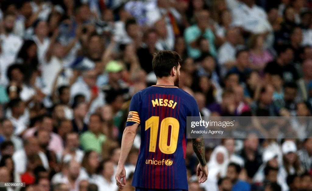 Lionel Messi of Barcelona is seen during the Spanish Super Cup return match between Real Madrid and Barcelona at Santiago Bernabeu Stadium in Madrid, Spain on August 17, 2017.