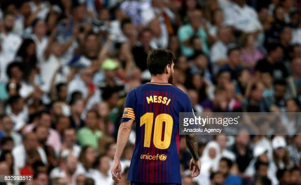 Lionel Messi of Barcelona is seen during the Spanish Super Cup return match between Real Madrid and Barcelona at Santiago Bernabeu Stadium in Madrid,...
