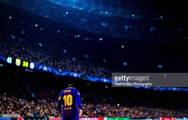 Lionel Messi of Barcelona is seen during the UEFA Champions League Round of 16 second leg match between FC Barcelona and Chelsea FC at the Camp Nou...