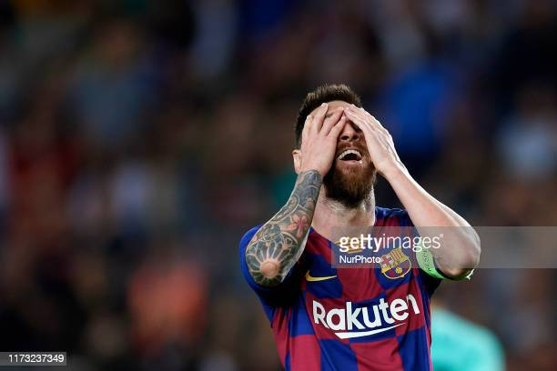 Lionel Messi of Barcelona lament a failed occasion during the UEFA Champions League group F match between FC Barcelona and Inter at Camp Nou on...
