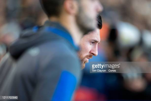 Lionel Messi of Barcelona leads his team onto the field during the Barcelona V Real Sociedad La Liga regular season match at Estadio Camp Nou on...